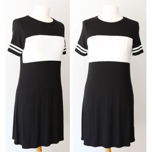 Black White Soft Stripe Cute Varsity T Shirt Dress